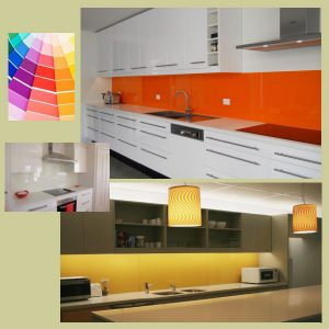 Colourful splashbacks and kitchens
